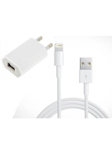 Apple 2m iPhone Kablo + 5W Şarj Aleti, iPad, İpod Şarj Lightning 2 Metre Şarj Data Kablosu Renkli